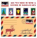 Dirigez Noël et les timbres et l'enveloppe de nouvelle année Photos libres de droits
