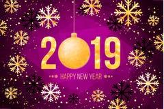 Dirigez 2019 nombres d'or avec le fond et les flocons de neige de confettis Calibre pour vos insectes et carte de voeux saisonnie illustration de vecteur