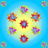 Dirigez onze étoiles multicolores sur le fond jaune bleu ; dirige l'illustration illustration de vecteur