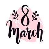 Dirigez salutation les WI internationaux de design de carte de jour du ` s de femmes du 8 mars Photos stock