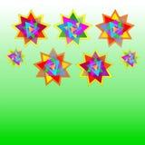 Dirigez sept étoiles multicolores sur la carte vert et verte pâle de fond, carte postale, invitation, illustration Image stock