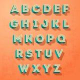 Dirigez style de couleur de lettres d'alphabet le rétro, designe de lettres Photographie stock