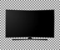 Dirigez UHD Smart TV avec l'écran incurvé par noir sur le fond blanc Photos stock