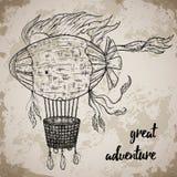 Dirigibile d'annata Lo steampunk del fumetto ha disegnato il dirigibile di volo illustrazione di stock