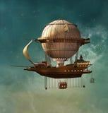 Dirigibile dello steampunk di fantasia illustrazione vettoriale