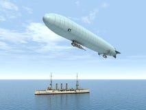 Dirigibile e nave da guerra royalty illustrazione gratis