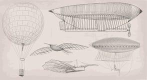 Dirigibl d'annata del dirigibile del trasporto aereo dell'oggetto disegnato a mano dell'elemento illustrazione vettoriale