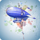 Dirigible balloon & floral ornament Royalty Free Stock Image
