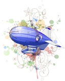 Dirigible balloon & floral ornament Royalty Free Stock Images