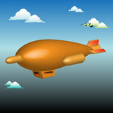 Dirigible flying among clouds Stock Images
