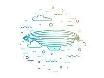 Dirigible and hot air balloons airship Stock Images