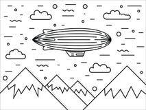 Dirigible and hot air balloons airship Stock Photography