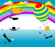 Dirigible and hot air baloon. Abstract illustration with rainbow, clouds, boat shape, butterflies, dragonflies, colored dirigible and hot air balloon Stock Image