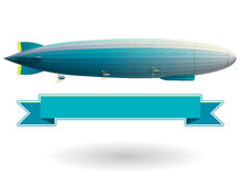 Dirigible legendario del zepelín Globo estilizado azul del vuelo Dirigible con el timón y los propulsores ilustración del vector