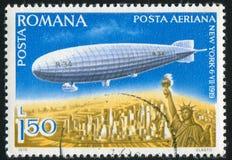 Dirigible. ROMANIA - CIRCA 1978: stamp printed by Romania, shows dirigible, circa 1978 royalty free stock image