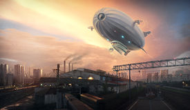 Dirigible in sky over Royalty Free Stock Photography