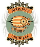 Dirigible. Vintage illustration of a retro dirigible with a ribbon and the words on a white background Royalty Free Stock Image