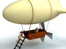 dirigiblen för ballongen 3d bemannar trä Fotografering för Bildbyråer