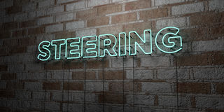 DIRIGIR - Sinal de néon de incandescência na parede da alvenaria - 3D rendeu a ilustração conservada em estoque livre dos direito ilustração stock