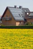 Dirija com painéis solares e o dente-de-leão amarelo imagens de stock