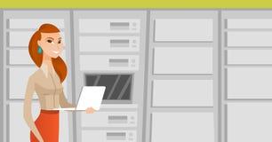 Dirija el trabajo en el ordenador portátil en sitio de servidor de red libre illustration