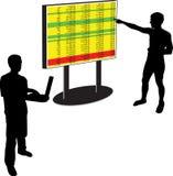 Dirija los resultados de la demostración en un whiteboard a un hombre stock de ilustración