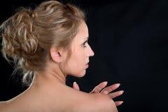 Dirija a menina em um perfil Fotos de Stock Royalty Free