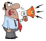 Dirija o homem que grita no megafone Fotografia de Stock