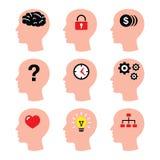 Dirija, pensamentos do homem, ícones do vetor do cérebro ajustados ilustração do vetor