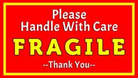 Dirija por favor con el cuidado - frágil - le agradecen 002 imagenes de archivo