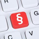 Diritti e giustizia online di concetto di Internet sul computer Fotografie Stock Libere da Diritti