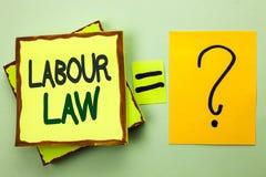 Diritto del lavoro di scrittura del testo della scrittura L'occupazione di significato di concetto governa l'unione della legisla fotografia stock libera da diritti