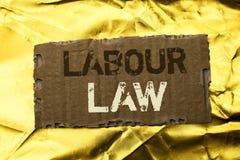 Diritto del lavoro del testo di scrittura di parola Il concetto di affari per occupazione governa l'unione della legislazione di  fotografie stock
