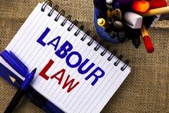 Diritto del lavoro del testo di scrittura di parola Il concetto di affari per occupazione governa l'unione della legislazione di  fotografie stock libere da diritti