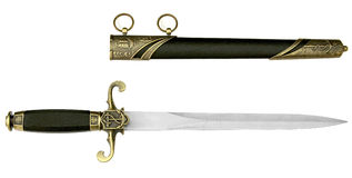 Dirk. Admiral Marine cutlass engraved on the blade, black scabbard. Handle and sheath decorated Stock Photo