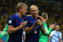 Dirk Kuyt and Arjen Robben Coupe du Monde 2014 Royalty Free Stock Photo