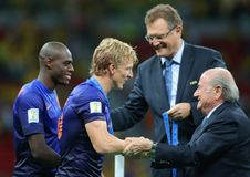 Dirk Kuyt and Sep Blatter Coupe du monde 2014 Stock Photos