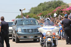 Dirk Nowitzki. NBA Champions Dallas Mavericks celebrate the win and return home to the crowds waiting at Love Field airport. MVP Dirk Nowitzki waves to the Royalty Free Stock Photography