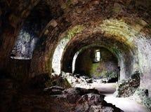 Dirleton slott - källare Arkivbild
