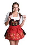 dirndl φορώντας τη γυναίκα Στοκ εικόνα με δικαίωμα ελεύθερης χρήσης