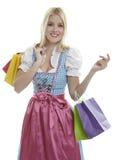 Dirndl de las compras Foto de archivo
