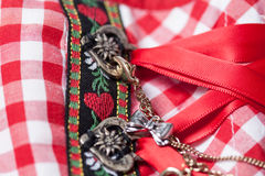 Dirndl. Detail of a red dirndl royalty free stock photo