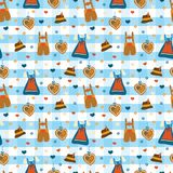 Dirndl dress Lederhosen Oktoberfest vector pattern stock illustration