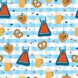 Dirndl dress Oktoberfest seamless vector pattern. royalty free illustration
