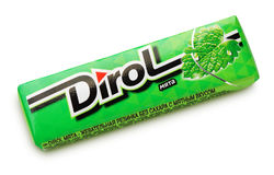 Dirol mint sugarfree chewing gum isolated on white Stock Image