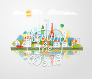 Dirrefent world famous sights. Around the world Royalty Free Stock Image