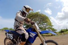Dirt Bike. Close view of a dirt biker royalty free stock photography