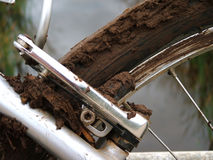 Dirt Bike. The result of a muddy and slippery downhill run Royalty Free Stock Photography