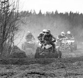 Dirt Bike challange with quadrocycle, real extreme royalty free stock photography