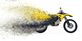 Dirt Bike Disintegration Royalty Free Stock Images